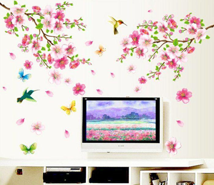 Beautiful wandtattoos blumen wohnideen wohnzimmer farbig frisch