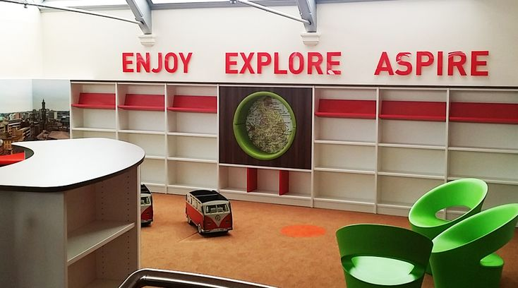 Acrylic letters for School Library. Our library wall graphics are perfect for creating an inspirational environment for children. These 'ENJOY, EXPLORE, ASPIRE' are a simple way to transform a blank wall. By space3.co.uk