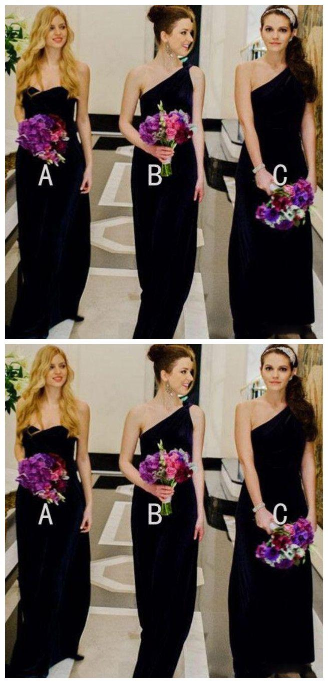 的 Black Mismatched Wedding Party Long Bridesmaid Dresses