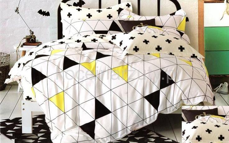 Dwustronna biała pościel do sypialni w trójkąty
