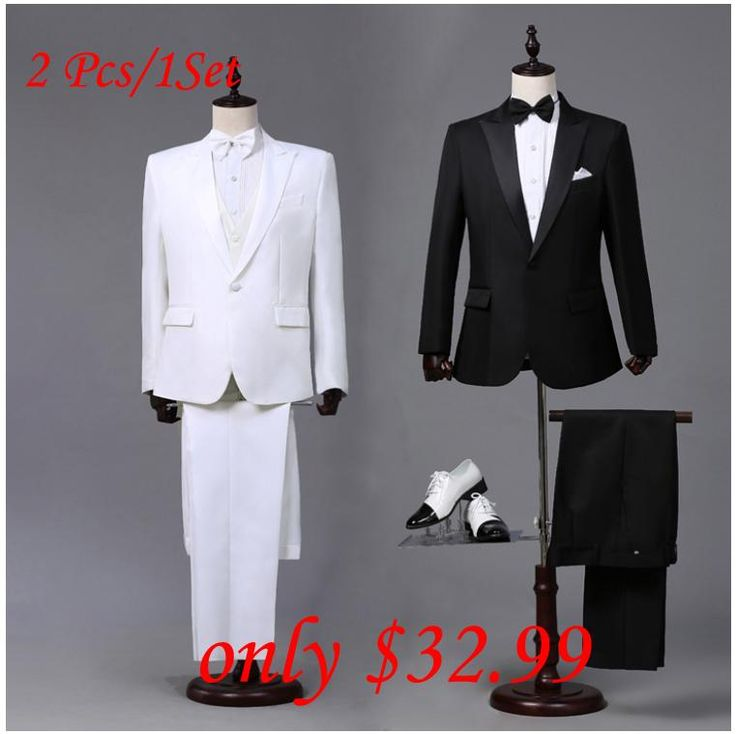 Custom made Mens Black White Suits Jacket Pants Formal Dress Men Suit Set men wedding suits groom tuxedos for men blazer