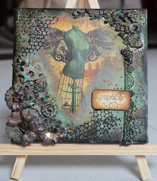 LOVE THIS STYLE. Steampunk Debutante Mixed Media Canvas by Carol Theng #graphic45 #steampunk