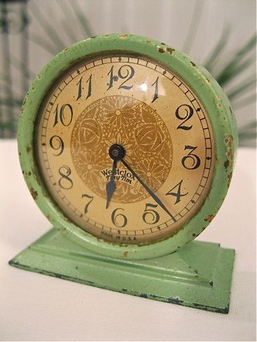 "1928 Westclox ""Tiny Tim"" Clock Original Jade Green Running 