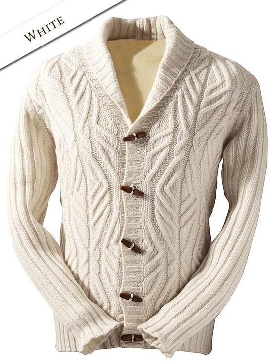 Mens Cabled Shawl Collar Cardigan with Ribbed Sleeves - Natural White