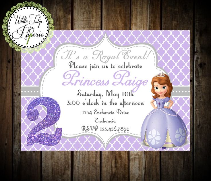Sofia The First Invitation, Sofia the First Birthday Invitation, Sofia the First Party, Digital Invite, Printable, Princess Sofia by WhiteTulipPaperie on Etsy https://www.etsy.com/listing/186419260/sofia-the-first-invitation-sofia-the