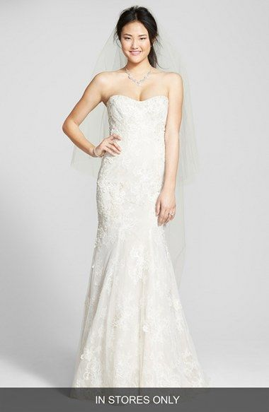 strapless beaded lace trumpet gown