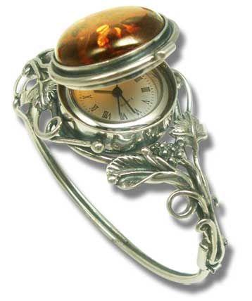 Art Nouveau silver & amber watch