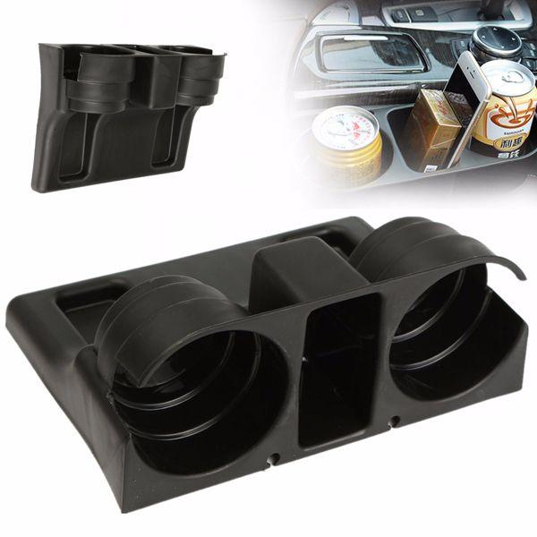Car Seat Wedge Cup Holder Drink Beverage Double Cups Holder Black Plastic