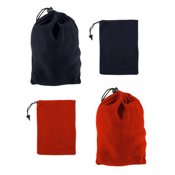 COD.IN012 Bolsa de Polar con cierre elasticado y tanka. Ideal para presentar tu pack personalizado de regalos de polar. Tamaño: 21 x 30 cm aprox.