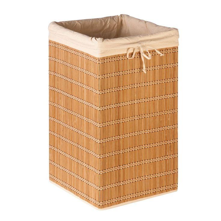 Honey-Can-Do Square Bamboo Wicker Hamper, Beig/Green (Beig/Khaki)