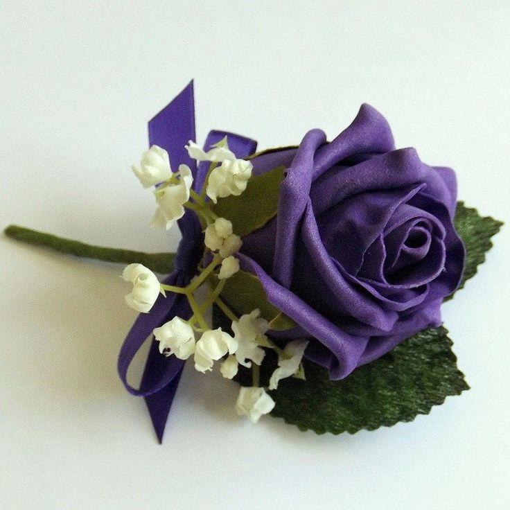 Artificial Buttonholes - Purple Rose Gypsophila Buttonhole - Wedding Flowers - Posie - Artificial Bouquets