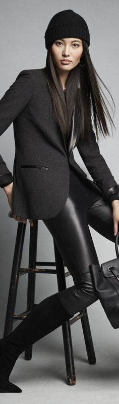 Ralph Lauren blacke blazer, leather trousers @roressclothes closet ideas #women fashion outfit #clothing style apparel