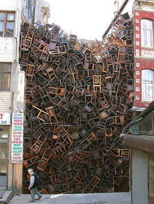 installation • doris salcedo: Wooden Chairs, 1550 Chairs, Building, Empty Spaces, Dory Salcedo, Street Art, Chairs Stacking, Art Installations, Streetart