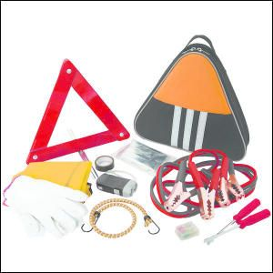 Triangle Emergency Kit. This triangle shaped auto safety kit includes: foldable warning triangle, work gloves, 10 gauge - 2 metre long booster cables, bungee cord, car fuses, electrical tape, two screwdrivers - one Phillips and one flat, crank flashlight, disposable clear poncho, Mylar blanket and reflective safety vest. All contents are bulk polybagged and packed inside 600D Polyester carry case.