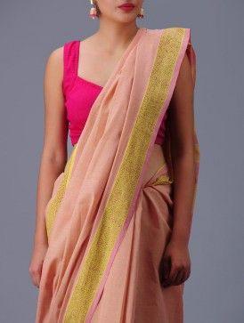 Pink-Yellow Andhra Cotton Saree