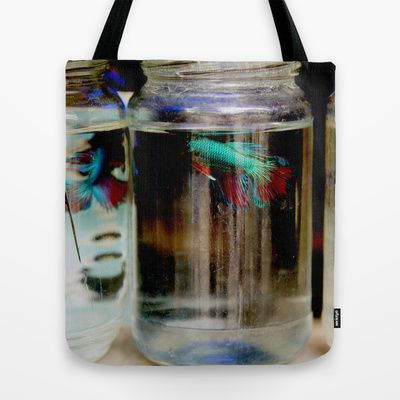 Fish Tote Bag by Farkas B. Szabina - $22.00  #bag #forxmas #fish #jar #fashion