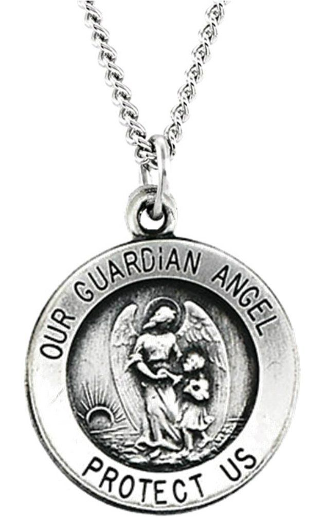 "Sterling Silver Guardian Angel Medal Necklace, 18"" (15.00MM). Angel Medal Measures .59 of an Inch in Diameter; A Bit Smaller than a Dime; Same Size as the Commemorative U.S. One Dollar Gold Coin. 15.00 Millimeters Round Guardian Angel Medal Crafted in Polished Sterling Silver. Suspended by a Sterling Silver, Flat Curb Chain, 18.00 Inches Long and 1.50 Millimeters Wide Finished with a Spring Ring Clasp. Angel is a Messenger of God; Pure Spirit, Full of Wisdom, Power, Beauty and Truth;..."