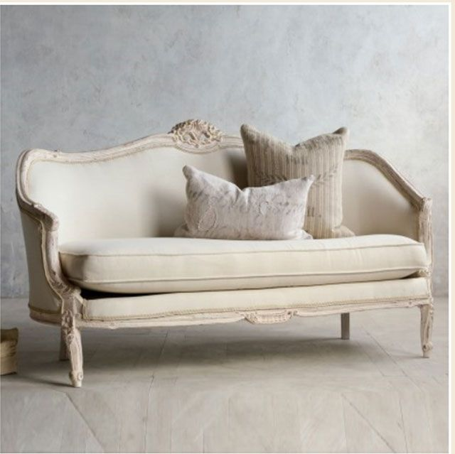 Vintage Pink White Oval Canape in Louis XV style-French furniture, shabby chic sofa