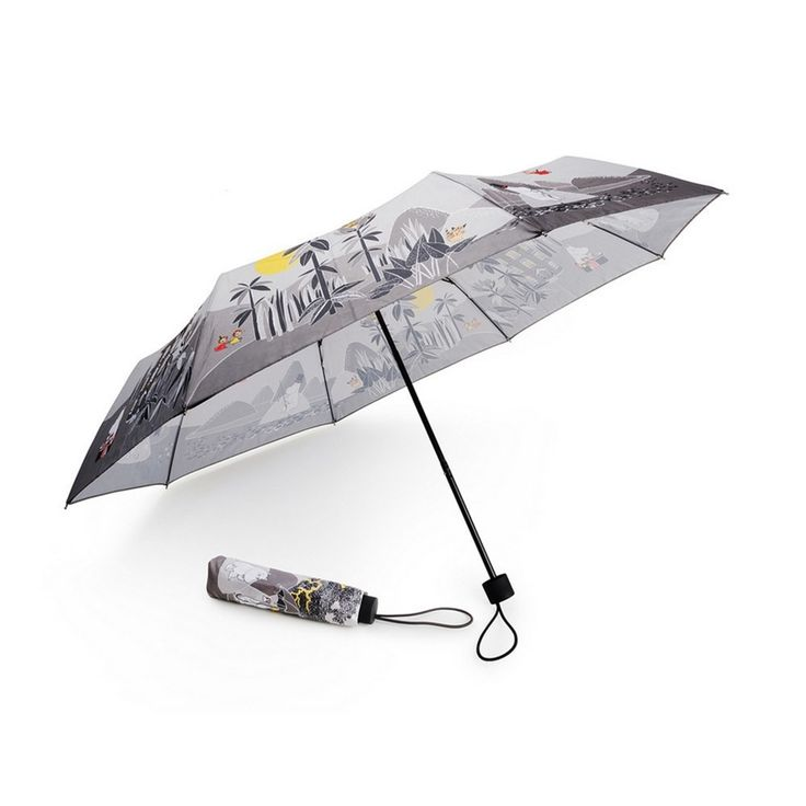 Stylish grey Moomin umbrella with colorful details for the rainy days. 95 centimeters in diameter, this will surely protect you even during heavier rain.Tyylikäs harmaa Muumi sateenvarjo värikkäillä yksityiskohdilla sateisten päivien suojaksi. Halkaisija 95 senttimetriä, joten suojaa hyvin jopa rajummassakin sateessa.Stiligt grått Mumin paraply med färggranna detaljer för regniga dagar. 95 centimeter i diameter, så paraplyet skyddar väl även i ruskigare väder.