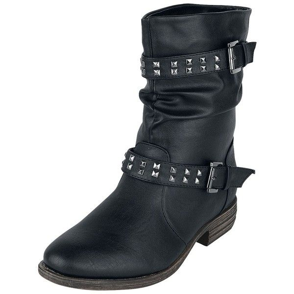 Ladies Biker Boot ($58) ❤ liked on Polyvore featuring shoes, boots, low-heel boots, black studded boots, buckle boots, black small heel boots and studded boots