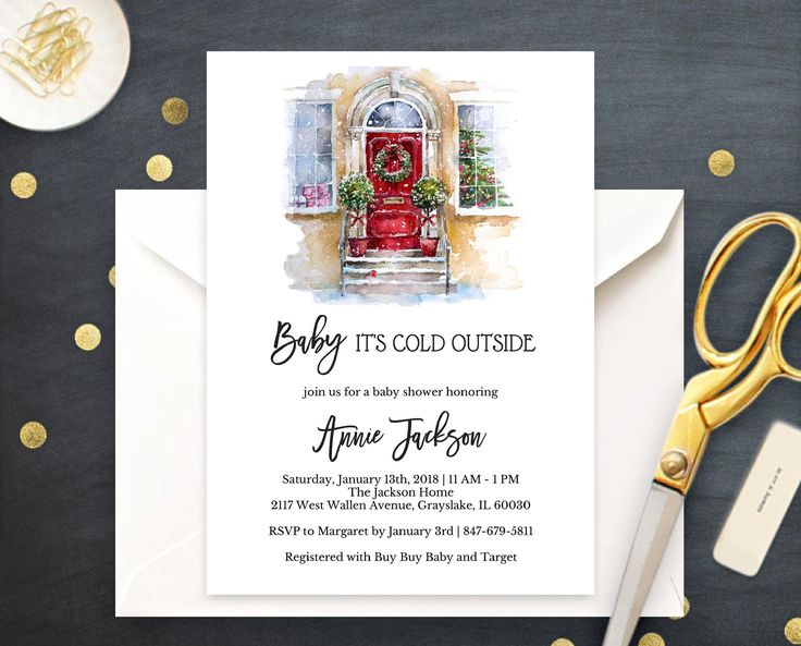Baby it's Cold Outside Baby Shower Invitation, Winter Bridal Shower, Gender Neutral Printable Holiday Invite, Christmas Door by CoupeDePapier on Etsy