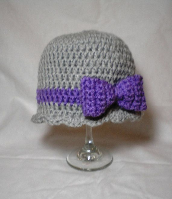 Baby Girl Hat  Crochet Bow Hat Girl Beanie by BittysBabyCreations