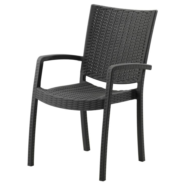 IKEA - INNAMO, Armchair, outdoor, dark gray, , You can have several chairs on hand without taking up more space since they are stackable.The materials in this outdoor furniture require no maintenance.The chair will look fresher and last longer, as the plastic is both fade resistant and UV stabilized to prevent cracking and drying out.