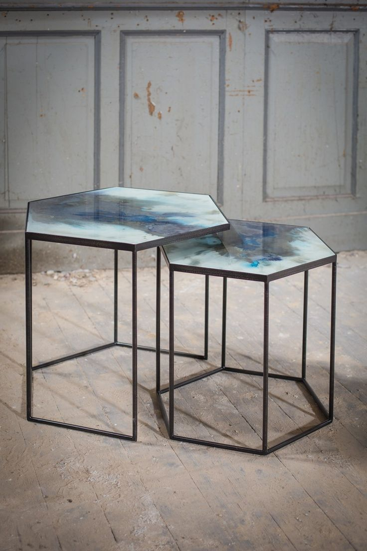 glass coffee table coffee table hexagonal table side table on exclusive modern nesting end tables design ideas very functional furnishings id=46217