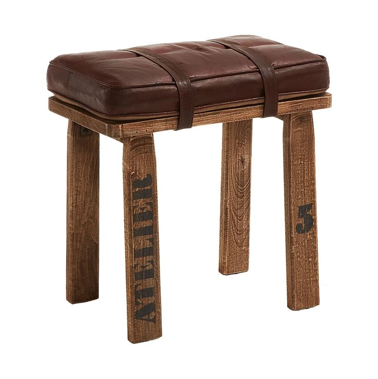 #Banqueta en #madera con asiento en #cuero color marrón