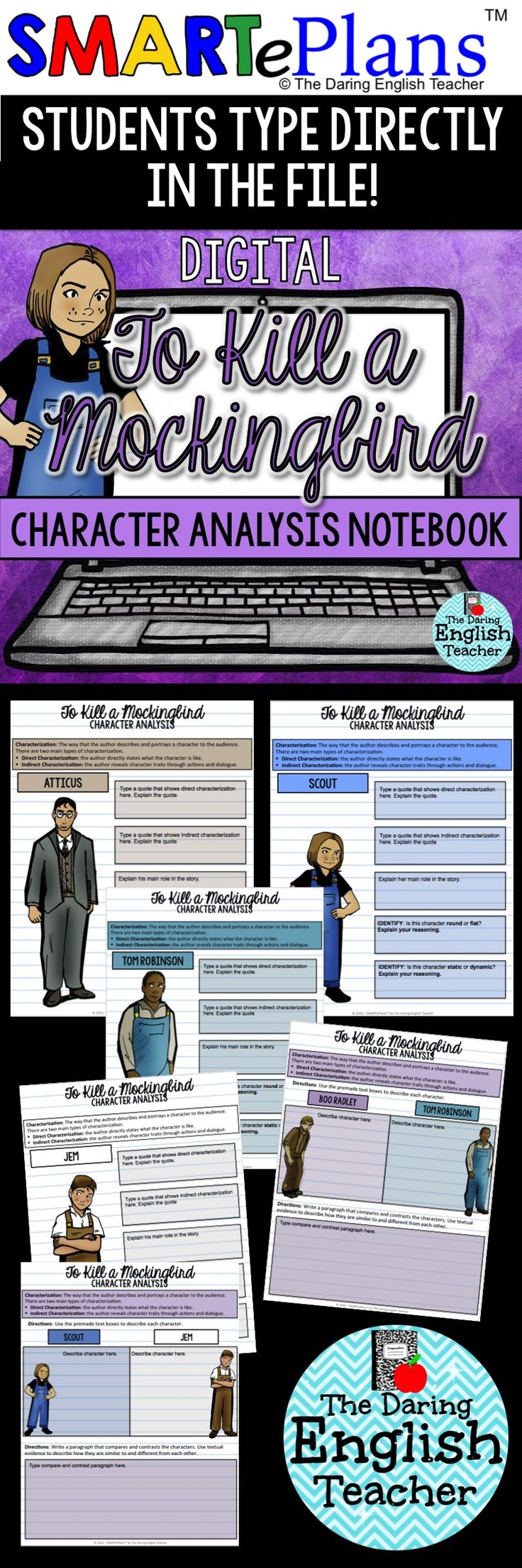 Digital To Kill a Mockingbird character analysis notebook for Google Drive. Analyze each main character in Harper Lee's novel To Kill a Mockingbird. This activity is perfect for the digital or 1:1 high school English classroom.
