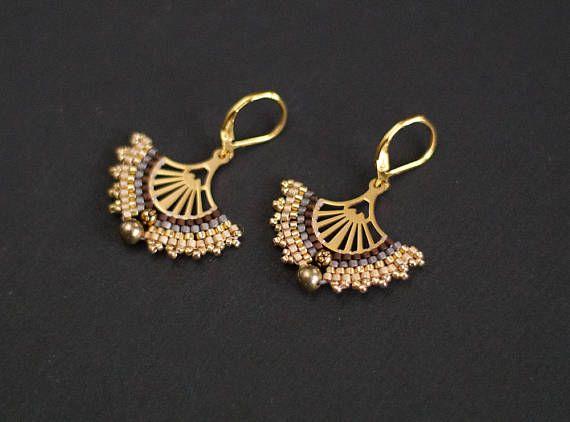 Golden Fan Earrings Golden Filigree Earrings Golden Color