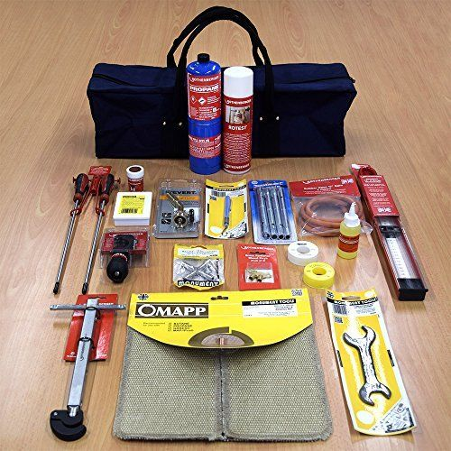 Plumbers-Kit-Comprising-of-Gas-Torch-Copper-Pipe-Cutter-Deburrer-Manometer-Hose-Compression-Nut-Spanner-4-Way-Multi-Purpose-Key-Radiator-Bleed-Key-Basin-Wrench-all-in-a-Blue-Tool-Bag-0