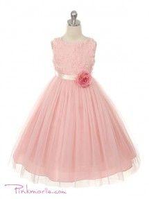 Rose Soft Rosebud Appliqué Taffeta Bodice Girl Dress