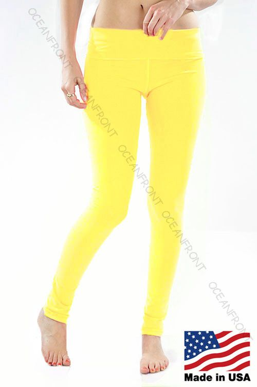 T Party Highlighter Neon Yellow Foldover Yoga Pants Bright Leggings S M L
