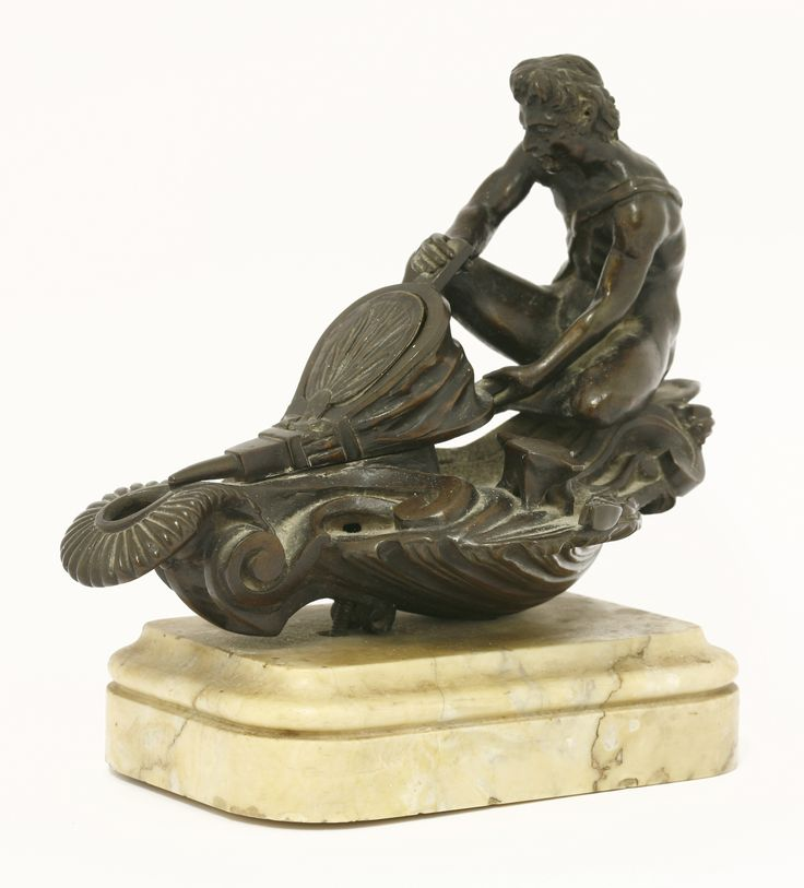 A Grand Tour bronze figural oil lamp,  in the form of a god pumping bellows, on a Siena marble base Sold for £3600 on 8th December 2015