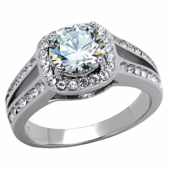 Woman/'s White Clear CZ Wedding Ring Classic Stainless Steel Band 9mm Sizes 5-10