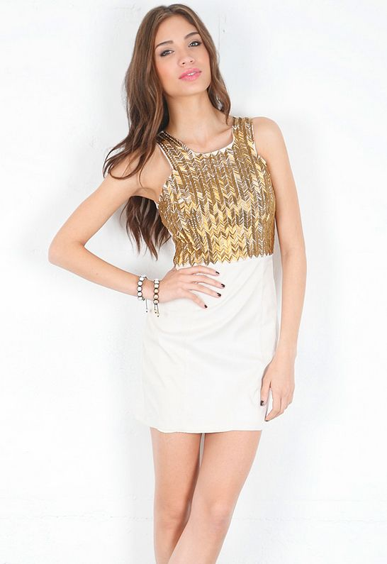 Keepsake All-Nighter Dress in Cream/Gold