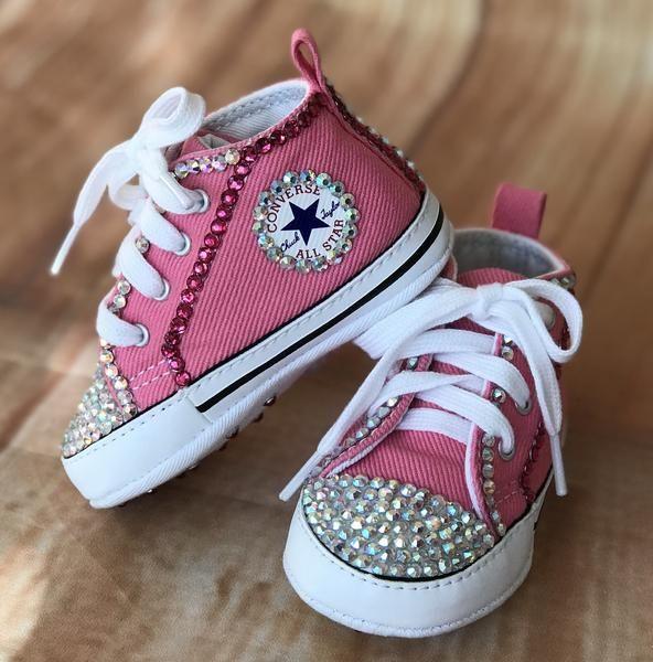 ee779893292b Blinged Pink Baby Converse Sneakers