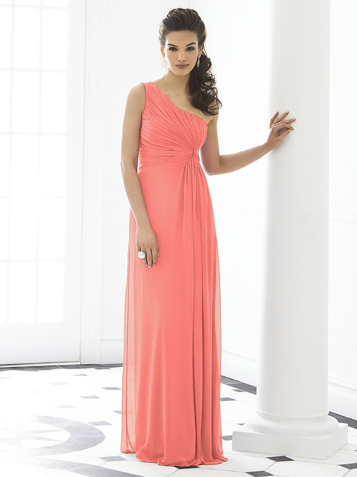 One shoulder empire waist full length lux chiffon dress w/ twist detail at draped bodice.