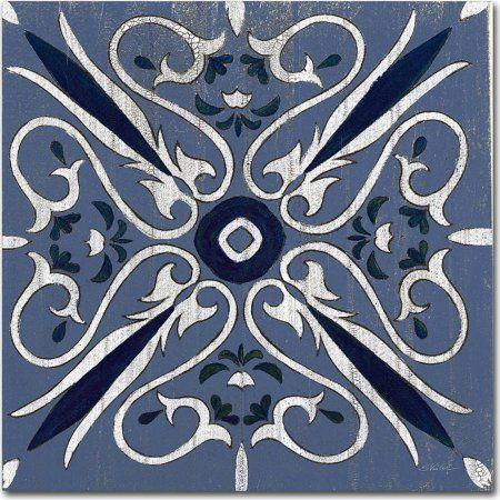 Trademark Fine Art Oxford I Indigo and Cream Canvas Art by Silvia Vassileva, Blue