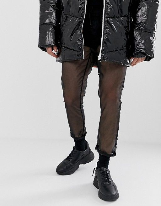 204c8f10f61622 DESIGN festival slim cropped pants in sheer black organza | asos men