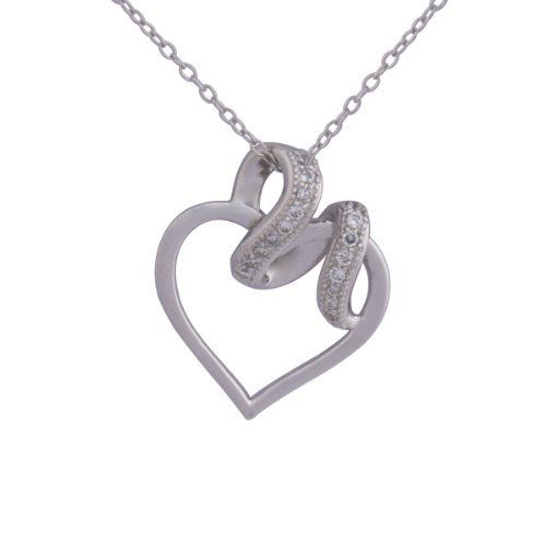 """Sterling Silver Simulated Diamond Heart with Wrap Pendant Necklace, 18"""" Amazon Curated Collection. $14.38. Rhodium plated. Made in China"""
