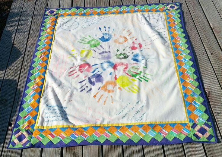 Thankyou hand print quilt for trents year 7 teacher