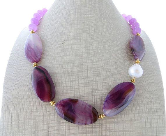 Chunky stone necklace purple agate necklace stone by Sofiasbijoux