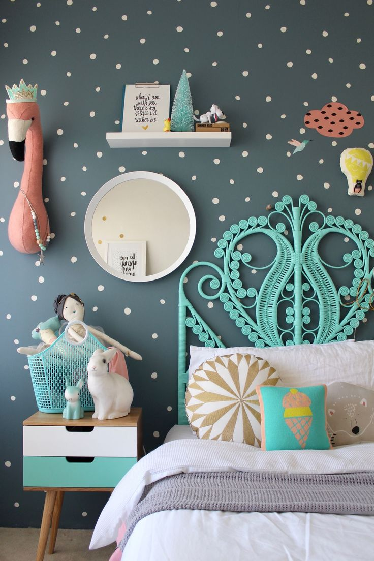More Fun Childrens Bedroom Ideas for girls on the blog using mimilou decals | colorful kids rooms