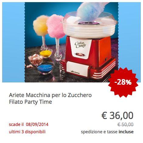 Offerta Ariete Macchina per lo Zucchero Filato Party Time
