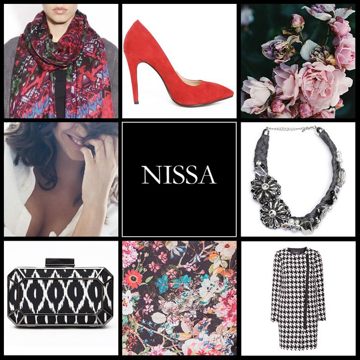 www.nissa.com  #nissa #accessories #mosaic #bag #red #shoe #coat #flowers #bloom #smile #scarf #necklace