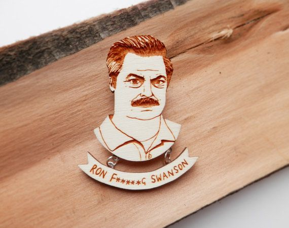 Lol! - Parks & Recreation Brooch 'Ron Swanson' by kateslittlestore