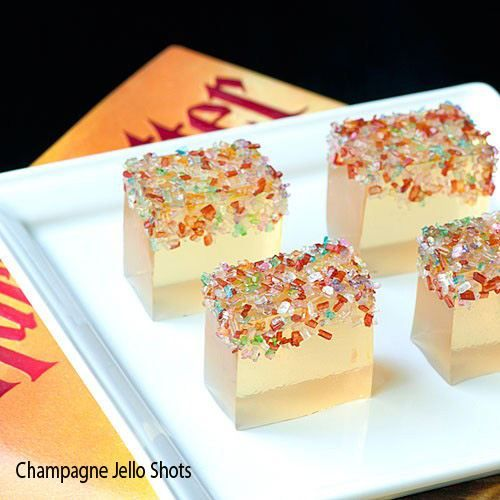 Champagne Jello Shots: 2 pkg white grape jello, 1 cup boiling water, 1 cup chilled champagne...Need to remember this for New Years Eve!