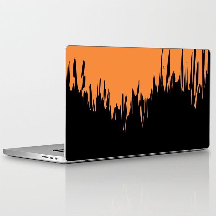 $25.99 Skins are thin, easy-to-remove, vinyl decals for customizing your laptop or iPad. #laptop #skin #tech #paint #brush #strokes #pattern #modern #elegant #creative #black #orange #abstract #buyart #society6 #gift #giftideas